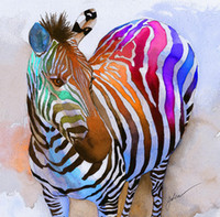 animal fine art - oil painting Hot Sell Modern Giclee Wall Artwork Colourful Zebra Squat Home Decoration Art Prints on Canvas Fine Art