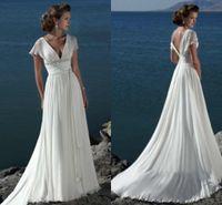 beach color sheets - Newest Wedding Dresses V Nexk Sexy Open Back Summer Beach Long Court Trians Beads Sheet Strap Vestido De Novia Ball Gowns Bridal Dress ZYY