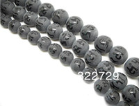 craft materials - Black stone semi precious stones beads mm gilt Buddha Mantra beads loose beads DIY craft materials ruby beads
