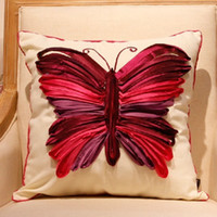 Wholesale Europe luxurious hotsale butterfly handmade embroidery pillow cushion cover case freeshipping