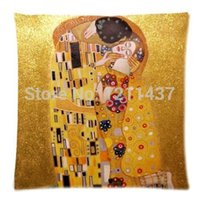 artist patterns - High quality decorative cushion covers symbolon painter artist Gustav Klimt painting golden pillow throw case sides patterns