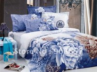 alternative bags - Quality Cotton printed comforter covers blue floral pattern alternative Queen Full bed in a bag sets with sheets bed linen