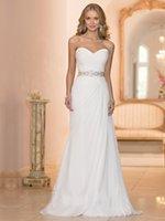 Wholesale Charming Personalized Sleeveless slie sadb Spring Summer Beach Sheath Strapless Pleats Chiffon Beads Wedding Dress WH050805