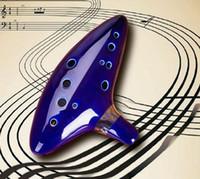 Wholesale Fashion Hot Hole New Ocarina Ceramic Alto C Legend of Zelda Ocarina Flute Blue Instrument