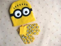 cotton knitted gloves - Despicable Me Minions Spider man Knit Caps Gloves New Cartoon Winter Knitted Kids Girls Boys Hats Gloves Children Christmas GMYF255