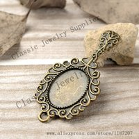 antiqued mirror - DIY Jewelry Accessories Antiqued Bronze Vintage Alloy Beauty Lace Cosmetic Mirror Cameo Setting mm Pendant Charms