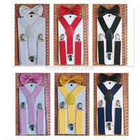 Cheap Top Quality NEW Elastic Suspender and Bow Tie Sets belt for Boys Girls Kids Free Shipping