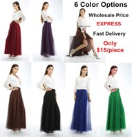 Cheap Wholesale 6 pcs lot Women Clothing Sheer Long Skirts Satin Skirt Free Size Elastic Waist Mesh Full Midi Maxi Skirt Fast Delivery