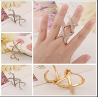 double finger ring - 2015 New Jewelry knuckle ring Punk Style Double Cross Shine Rhinestone Joint Finger Rings Elegant cross ring Fashion Jewelry NO A piece