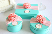 Wholesale Smallwholesales sugar tin boxes with flower ribbon DIY customize tin gift box creative wedding favor box candy tin box