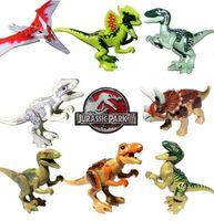 Wholesale 8 Jurassic World Velociraptor Triceratops Tyrannosaurus Rex Dilophosau Pterosauria Bricks Building Blocks Mini figure optional color box