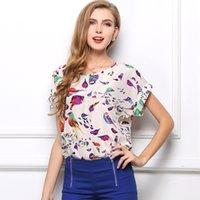 Cheap 2015 Summer Europe Style Dresses Woman Lady Blouses Short Sleeves Bird Flower Print T Shirt Round Neck Chiffon Tops Plus Size S-XXL