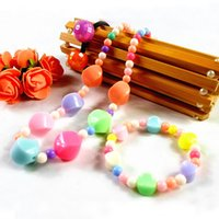 Wholesale Children Jewelry Sets Acrylic candy colors charm necklaces bracelets set kids stretch band cuffs DIY statement jewelry