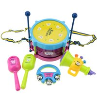 cabasa - Baby Concerts Children Toy Gift Set Drum Trumpet Cabasa Handbell Musical Instruments Band Kit Toy