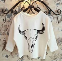 raglan shirt - 2015 Spring Boys Girls T shirts Funny Ox Head Print Long Raglan Sleeve Tshirt Cotton Shirt Kids Tops Children Clothing White K3676