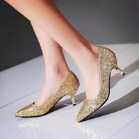 Wholesale Silver Gold Sequins Bridal Shoes Kitten Heel White Black Prom Shoes Women Lady Evening Party Shoes Wedding bridesmaid Shoes Pointed Toe