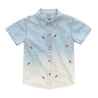 gradient denim shirt - High quality fashion toddler kids boys fish bone embroidery short sleeve turn down collar gradient denim shirt children clothes