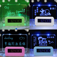 Wholesale USB LED Digital Fluorescent Message Board Alarm Clock Backlight Temperature Calendar Timer USB Ports ET05 X57P
