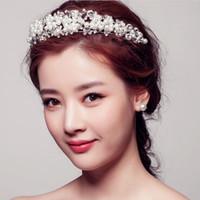 antique diamond tiara - Korean Styles Wedding Dress Jewelry Accessories Shiny Pearl Diamond Bridal Hair Crown Tiara Headpiece Retail