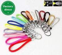 Wholesale Small gifts fashion accessories Braided leather cord metal key chains Weave key chain on sale the new Weave Strap Key Chain
