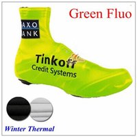 Wholesale 2015 Tinkoff saxo bank green yellow Fluo Cycling Shoes Covers Bicycly Winter thermal size S XL cycling shoes covers