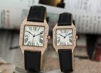 alloy tanks - With Logo Square Tank Wristwatches Fashion couple watches Genuine Leather Gold Diamond Dial Men Women Quartz Movement Sport Watch for Men