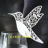 Wholesale Hollow Bird Place Card Laser Cut Wine Glass Cards Wedding Party Decoration