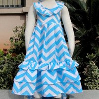 chevron maxi dress - new girl summer chevron bohemian dress toddler baby ruffle cotton beach wear dress children backless halter dress kid blue white maxi dres