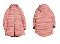 Cheap Wholesale-NEW 2015 Europe women winter warm down jacket thick long sleeve polka dot coat wide-waist medium-long parkas Plus Size S-5XL W39