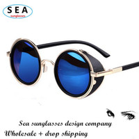 Sports amber sea - SEA STEAMPUNK Retro COATING mens vintage round SUNGLASSES Men women brand designer gafas OCULOS de sol feminino Sun GLASSES s004
