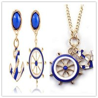 anchor blue sweaters - Europe wind brand texture Navy anchor blue and white sweater chain long Necklace Earring jewelry set