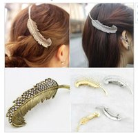 antique barrettes - New Brand Vintage Feather Hair Clip Antique Gold Hair Clasp Jewelry Hairgrips for Women Hair Accessories