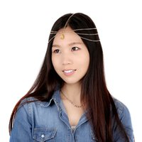 Wholesale Bohemian Women Water Droplets Gems Tassels Hair Chain Headpiece Hair Band Jewelry For Party
