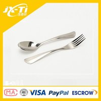 Wholesale ultralight top grade western titanium serving spoon and fork with factory price eco friendly rustless western food cutlery