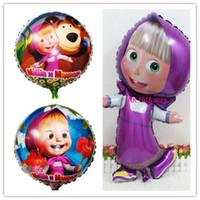 bear cartoon characters - Masha and bear party Cartoon character martha Foil Balloons birthday Party decorations kids toys high quality