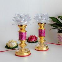 Wholesale inch LED seven color crystal white big Buddha lotus lamp for light long light worship Buddha lamp Buddhist supp