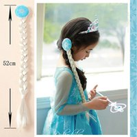 Wholesale Christmas party Frozen children hair accessories Elsa princess Anna wig braid gold sliver plait cosplay ponytail girl child s gift New