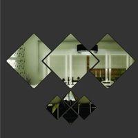acrylic mirror tile - New Hot Shining Diamond Shape Acrylic Mirror Effect Silver Wall Sticker Mural Glass Tile Bedroom Decal