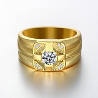 Wholesale Simulated Diamond Rose Gold - 60% off Wedding Party Rings for Men 2015 Fashion Rose  18K Gold Plated Simulated Diamond Ring Jewelry Aneis Gifts Beijia R120