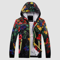 Wholesale Fall Autumn amp Spring Causal Trench Coat Men Novelty Floral Printed Hooded Loose Thin Fashion Manteau Homme Casaco Masculino