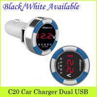 Wholesale C20 measured voltage dual USB car charger cigarette lighter car phone charger universal car charger