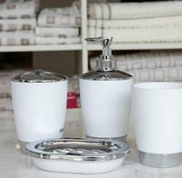 acrylic soap dish - TAYOHYA Bathroom supplies kit Toilet four piece set acrylic Rinsing mug set cup brush shelf lotion bottle soap dish white