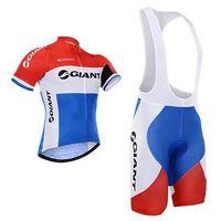 Wholesale Giant cycling jerseys top cycling jerseys red white blue color bike wear short sleeves bib none bib pants XS XL bicycle clothing