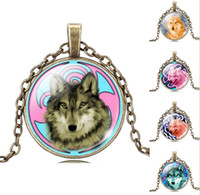 acrylic picture glass - Glass Cabochon Wolf Acrylic Pendant Bronze Chain Necklace Art Picture Vintage Jewelry Gift Statement Necklace For Women Long Sweater Necklac
