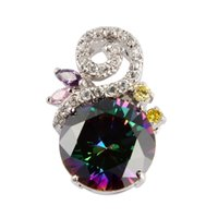 Wholesale The new product Classic Rainbow stone Mystic Topaz fashion Silver Plated Pendants R708G First class products