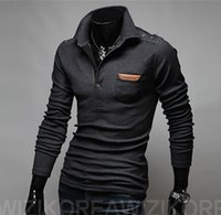 Wholesale New Arrival Spring Pure Color Fashion designed Long Sleeve Turn down Collar Slim Leisure Men s T shirt Colors Plus Size M L XL XXL