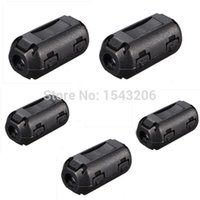 Wholesale 5 Black Plastic Clip On EMI RFI Noise Suppressor mm Cable Ferrite Core Filters Removable small order no tracking