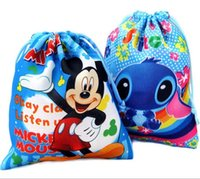 Wholesale Kids Mickey stitch DrawString bag Pooh Minnie Storage bags Cartoon DrawString backpack pouch String Bag shopping bag school bags A182