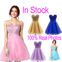Wholesale In Stock Pink Tulle Mini Crystal Homecoming Dresses Beads Lilac Sky Royal Blue Short Prom Party Graduation Gowns Cheap Real Image Hot