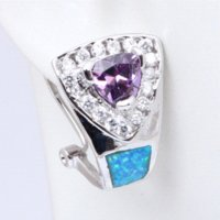 best buy earrings - Best gifts Welcome to Buy Gorgeous Amethyst Blue Fire Opal Fashion Silver Clip Earrings Fashion Jewelry OE245A
